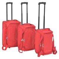 vidaXL Súprava 3 cestovných kufrov, červená
