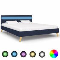vidaXL Rám postele s LED svetlom modrý 160x200 cm látkový