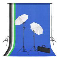 vidaXL Sada do fotoštúdia so svetlami, pozadiami a foto dáždnikmi