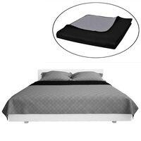 Obojstranná posteľná prikrývka, šedá/čierna, 230 x 260 cm