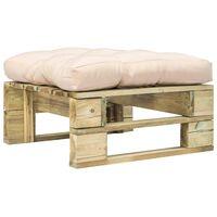 vidaXL Záhradná taburetka z paliet, piesková podložka, zelená, drevo