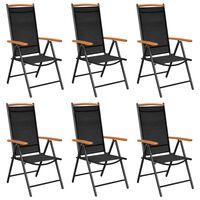 vidaXL Skladacie záhradné stoličky 6 ks textilénové čierne