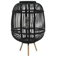 vidaXL Voľne stojaci svietnik bambusový čierny