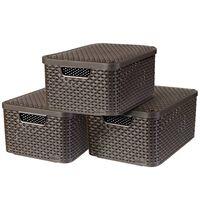 Curver Úložné boxy s poklopmi 3 ks veľkosť M hnedé 240655 Style