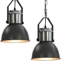 vidaXL Stropná lampa 2 ks, sivá, okrúhla E27