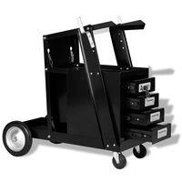 vidaXL Vozík na zváračské náradie so 4 zásuvkami, čierny