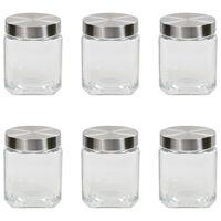 vidaXL Skladovacie poháre so striebornými viečkami 6 ks 1200 ml