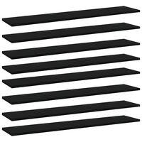 vidaXL Prídavné police 8 ks, čierne 100x20x1,5 cm, drevotrieska