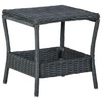 vidaXL Záhradný stôl, tmavosivý 45x45x46,5 cm, polyratan
