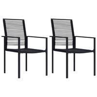 vidaXL Záhradné stoličky 2 ks čierne PVC ratan