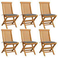 vidaXL Záhradné stoličky, sivé podložky 6 ks, tíkový masív