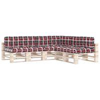vidaXL Podložky na paletovú sedačku 7 ks červený kockový vzor