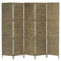 vidaXL 5-panelový paraván hnedý 193 x 160 cm vodný hyacint