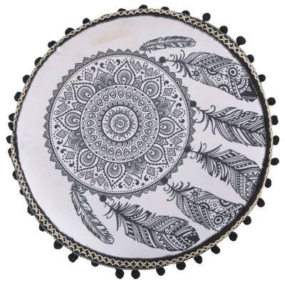 vidaXL Stolička bielo-čierna látková