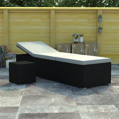 vidaXL Záhradné ležadlo s vankúšom a čajovým stolíkom krémovo-biele polyratanové