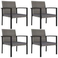 vidaXL Záhradné jedálenské stoličky 4 ks polyratanové sivé