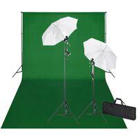 vidaXL Fotografické vybavenie: zelené fotopozadie 600x300cm+osvetlenie