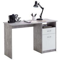 FMD Stôl s 1 zásuvkou betónovo-biely 123x50x76,5 cm