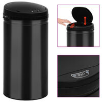 vidaXL Automatický odpadkový kôš, senzor 50 l, uhlíková oceľ, čierny