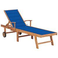vidaXL Záhradné ležadlo s kráľovsky modrou podložkou tíkový masív
