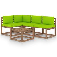 vidaXL 5-dielna záhradná sedacia súprava s jasnozelenými podložkami