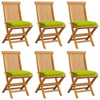 vidaXL Záhradné stoličky s jasnozelenými podložkami 6 ks tíkový masív