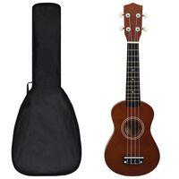 """vidaXL Sopránové ukulele s taškou pre deti tmavé drevo 21"""""""
