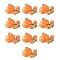 vidaXL Upínacie popruhy s račňou 10 ks, 0,4 tony, 6mx25mm, oranžové