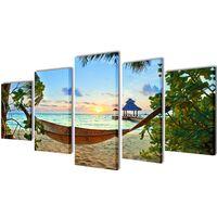 Sada obrazov na stenu, motív Piesočnatá pláž s hojdacou sieťou 200x100