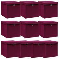 vidaXL Úložné boxy s vrchnákmi 10 ks tmavočervené 32x32x32 cm látkové