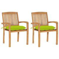 vidaXL Záhradné stoličky 2 ks bledozelené podložky tíkový masív