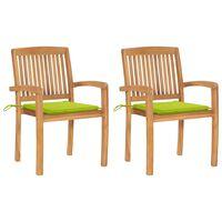 vidaXL Záhradné stoličky 2 ks s bledozelenými podložkami tíkový masív