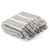 vidaXL Deka, bavlnená, prúžky 220x250 cm, sivá a biela