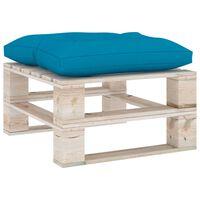 vidaXL Záhradná taburetka z paliet, modrá podložka, borovica