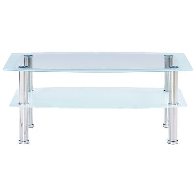 vidaXL Konferenčný stolík biely 100x60x42 cm tvrdené sklo
