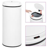 vidaXL Automatický odpadkový kôš, senzor 80 l, uhlíková oceľ, biely