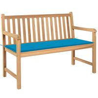 vidaXL Záhradná lavička s modrou podložkou 120 cm tíkový masív