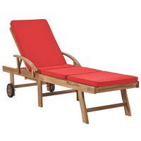 vidaXL Záhradné ležadlo s podložkou, tíkový masív, červené