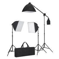 vidaXL Súprava štúdiového osvetlenia: 3 foto svetlá, statív a softbox