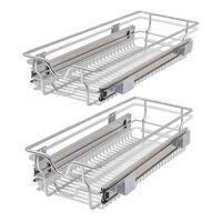 vidaXL Vysúvacie drôtené košíky, 2 ks, strieborné, 300 mm