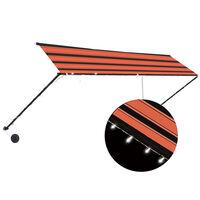 vidaXL Zaťahovacia markíza s LED 400x150 cm oranžová a hnedá