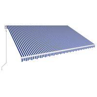 vidaXL Ručná zaťahovacia markíza modrá a biela 500x300 cm