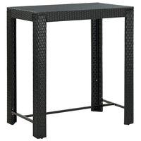 vidaXL Záhradný barový stolík čierny 100x60,5x110,5 cm polyratanový