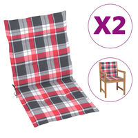 vidaXL Podložky na záhradné stoličky 4ks, červené,kockované 100x50x7cm