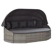 vidaXL Záhradná posteľ s baldachýnom, polyratan, sivá