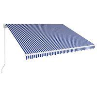 vidaXL Ručná zaťahovacia markíza 400x300 cm modrá a biela