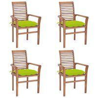vidaXL Jedálenské stoličky 4 ks bledozelené podložky tíkový masív