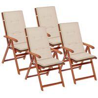 vidaXL Podložky na záhradné stoličky 4 ks krémové 120x50x7 cm