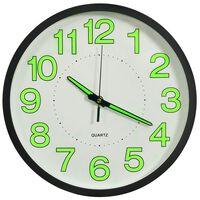 vidaXL Svietiace nástenné hodiny čierne 30 cm