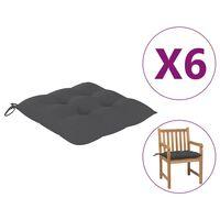 vidaXL Podložky na stoličku 6 ks, antracitové 50x50x7 cm, látka